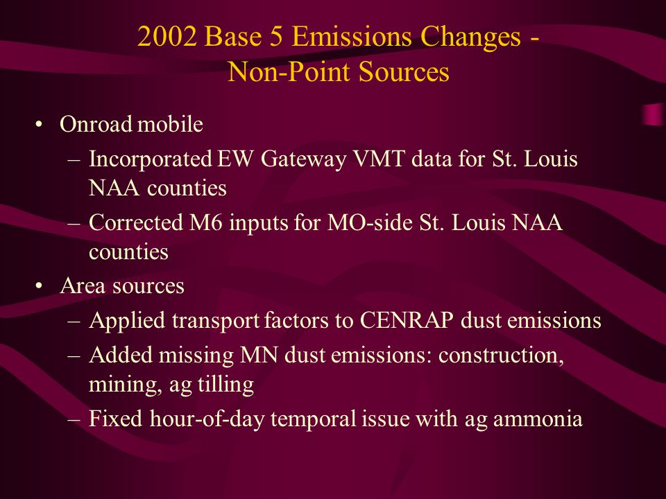2002 Annual Point Source NOx & SO2 Emissions - Selected CENRAP & VISTAS States Note: MRPO, WRAP, MANE-VU point source inventories did not change from Base 4 to Base 5.