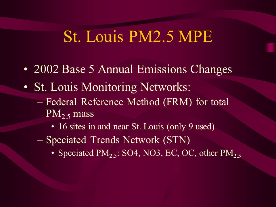 St. Louis PM2.5 MPE 2002 Base 5 Annual Emissions Changes St.