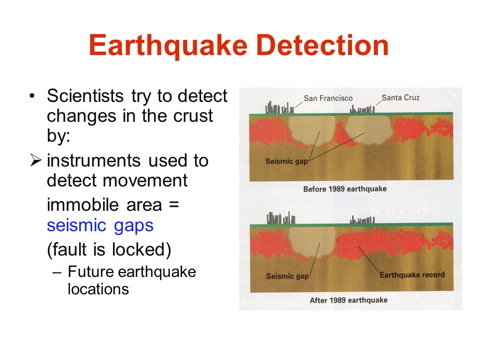Earthquake Detection Scientists try to detect changes in the crust by:  instruments used to detect movement immobile area = seismic gaps (fault is lo