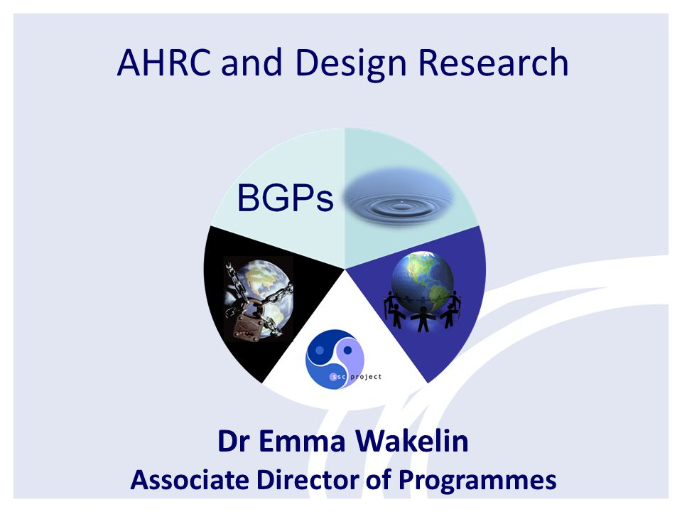AHRC and Design Research Dr Emma Wakelin Associate Director of Programmes