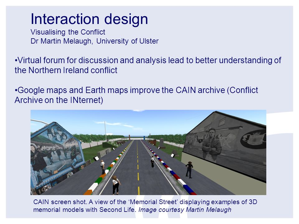 Interaction design Visualising the Conflict Dr Martin Melaugh, University of Ulster CAIN screen shot.