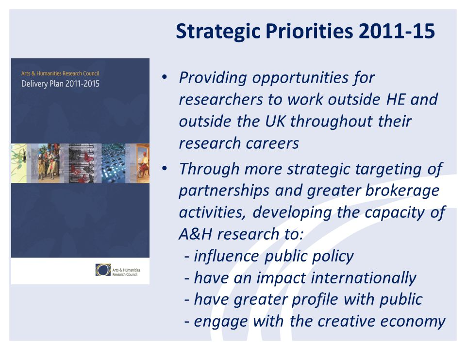 Strategic Priorities 2011-15 Providing opportunities for researchers to work outside HE and outside the UK throughout their research careers Through more strategic targeting of partnerships and greater brokerage activities, developing the capacity of A&H research to: - influence public policy - have an impact internationally - have greater profile with public - engage with the creative economy