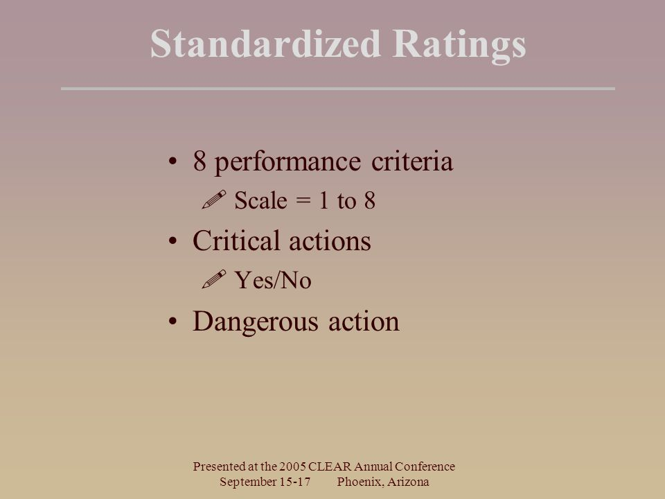 Presented at the 2005 CLEAR Annual Conference September 15-17 Phoenix, Arizona Standardized Ratings 8 performance criteria  Scale = 1 to 8 Critical a
