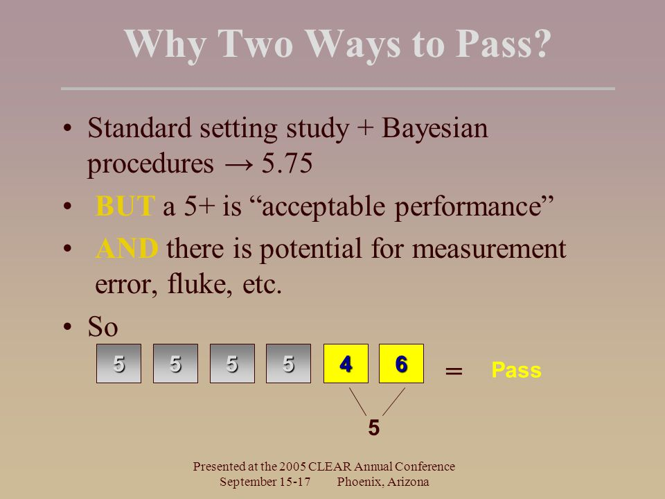Presented at the 2005 CLEAR Annual Conference September 15-17 Phoenix, Arizona Why Two Ways to Pass? Standard setting study + Bayesian procedures → 5.