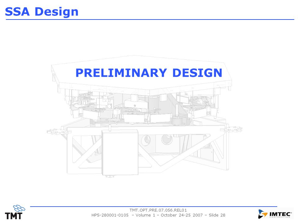 TMT.OPT.PRE.07.056.REL01 HPS-280001-0105 – Volume 1 – October 24-25 2007 – Slide 28 PRELIMINARY DESIGN SSA Design