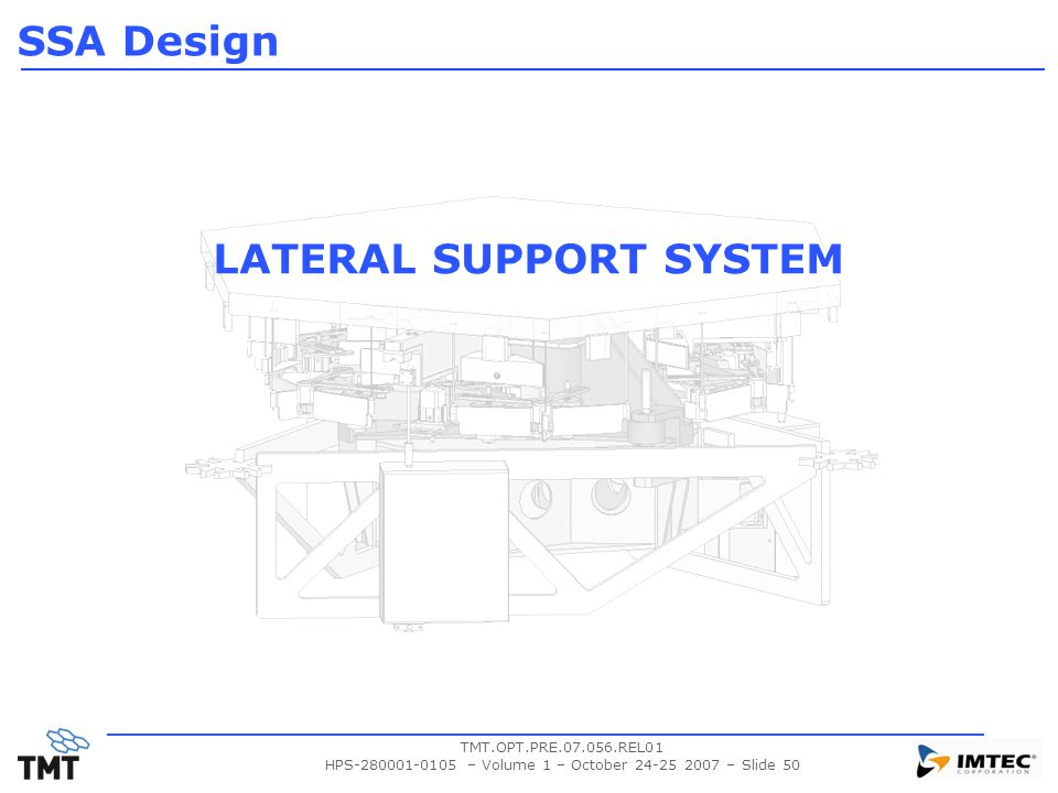 TMT.OPT.PRE.07.056.REL01 HPS-280001-0105 – Volume 1 – October 24-25 2007 – Slide 50 LATERAL SUPPORT SYSTEM SSA Design