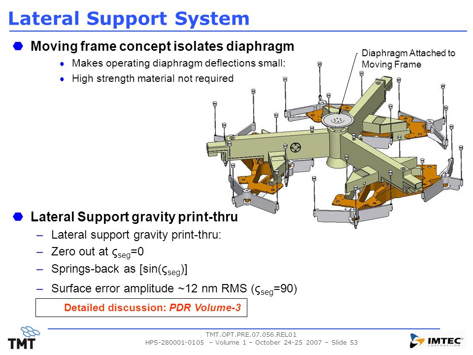 TMT.OPT.PRE.07.056.REL01 HPS-280001-0105 – Volume 1 – October 24-25 2007 – Slide 53 Lateral Support System Moving frame concept isolates diaphragm Mak