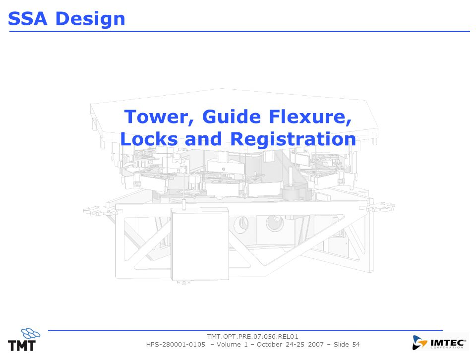 TMT.OPT.PRE.07.056.REL01 HPS-280001-0105 – Volume 1 – October 24-25 2007 – Slide 54 Tower, Guide Flexure, Locks and Registration SSA Design