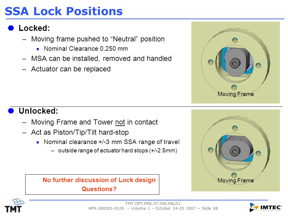 "TMT.OPT.PRE.07.056.REL01 HPS-280001-0105 – Volume 1 – October 24-25 2007 – Slide 58 SSA Lock Positions Locked: –Moving frame pushed to ""Neutral"" posit"