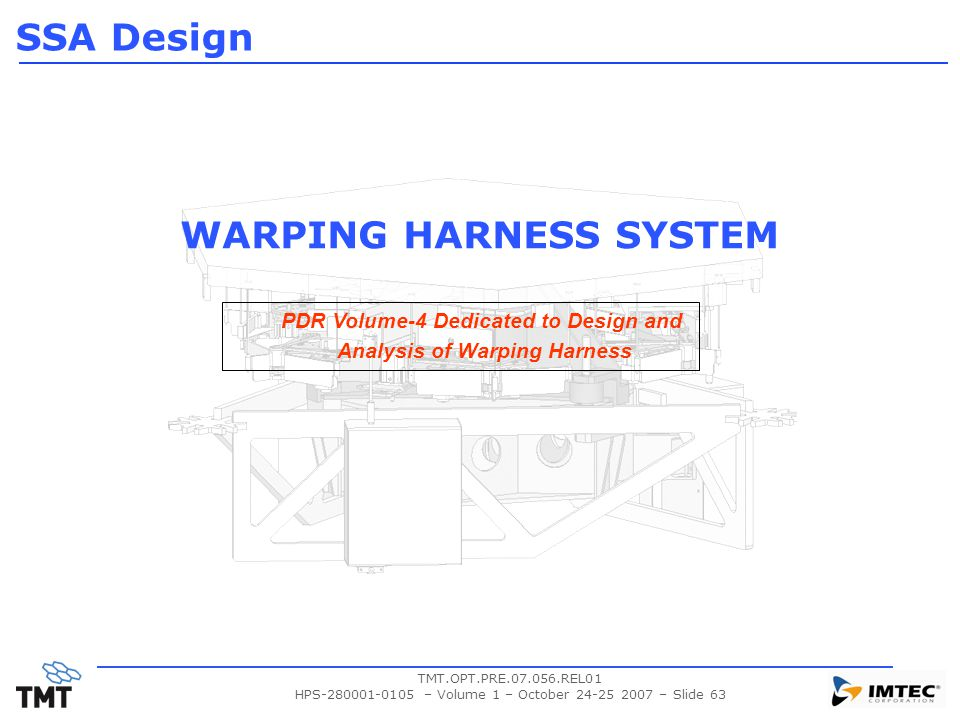 TMT.OPT.PRE.07.056.REL01 HPS-280001-0105 – Volume 1 – October 24-25 2007 – Slide 63 WARPING HARNESS SYSTEM SSA Design PDR Volume-4 Dedicated to Design
