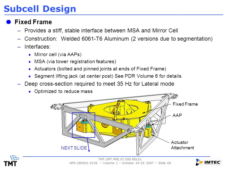TMT.OPT.PRE.07.056.REL01 HPS-280001-0105 – Volume 1 – October 24-25 2007 – Slide 69 Subcell Design Fixed Frame –Provides a stiff, stable interface bet