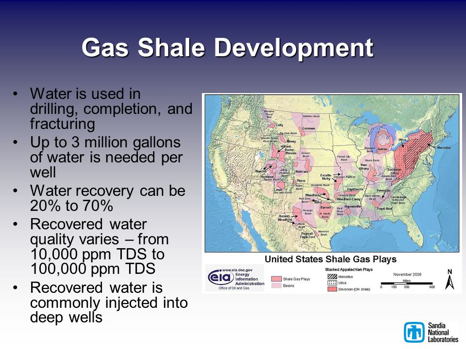 Gas Shale Development Water is used in drilling, completion, and fracturing Up to 3 million gallons of water is needed per well Water recovery can be 20% to 70% Recovered water quality varies – from 10,000 ppm TDS to 100,000 ppm TDS Recovered water is commonly injected into deep wells