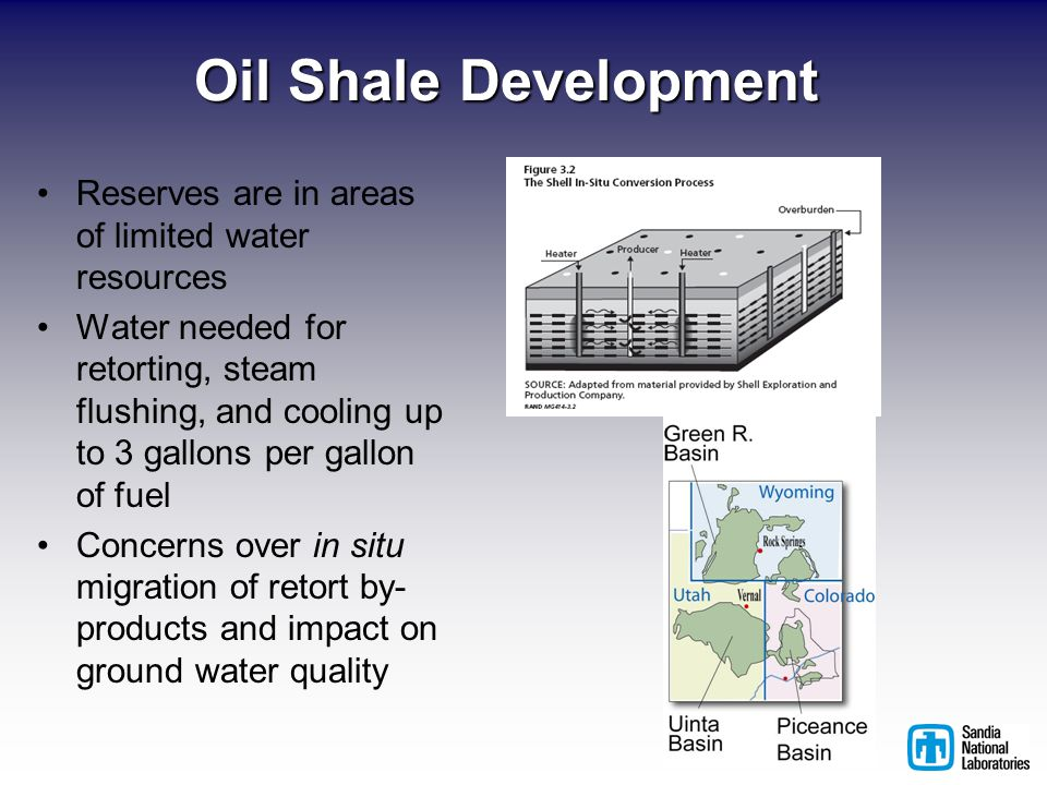 Oil Shale Development Reserves are in areas of limited water resources Water needed for retorting, steam flushing, and cooling up to 3 gallons per gallon of fuel Concerns over in situ migration of retort by- products and impact on ground water quality