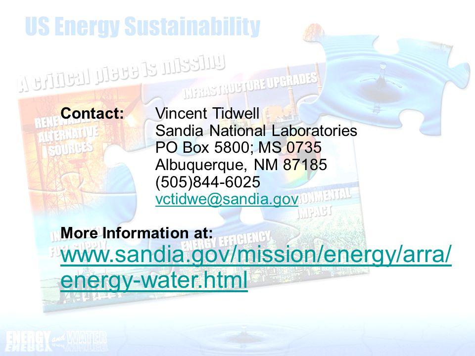 Contact: Vincent Tidwell Sandia National Laboratories PO Box 5800; MS 0735 Albuquerque, NM 87185 (505)844-6025 vctidwe@sandia.gov More Information at: www.sandia.gov/mission/energy/arra/ energy-water.html