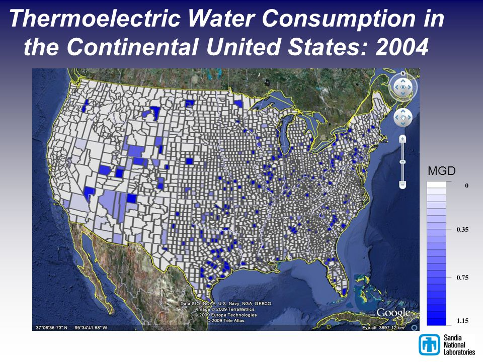 Thermoelectric Water Consumption in the Continental United States: 2004 MGD