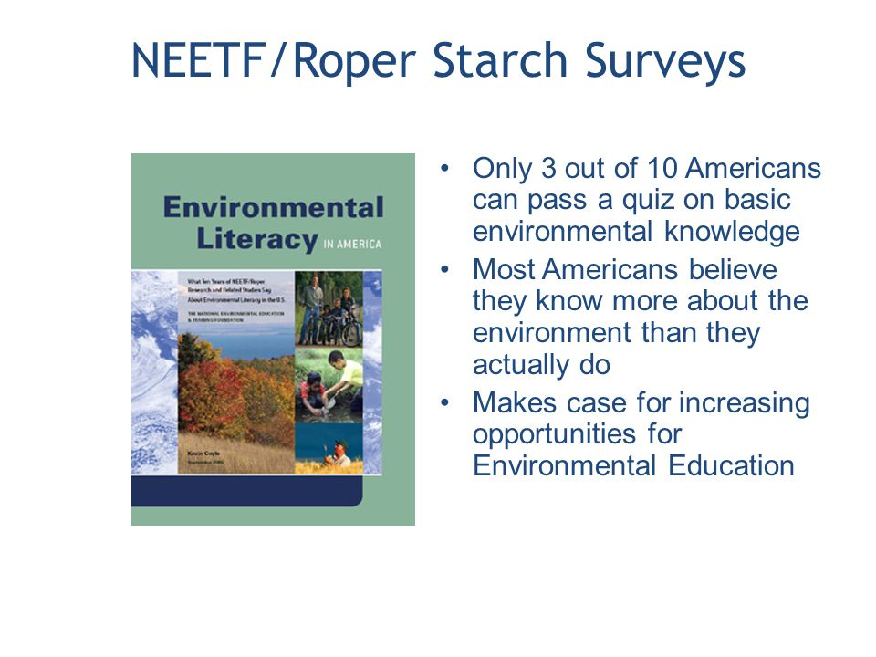 NEETF/Roper Starch Surveys Only 3 out of 10 Americans can pass a quiz on basic environmental knowledge Most Americans believe they know more about the environment than they actually do Makes case for increasing opportunities for Environmental Education