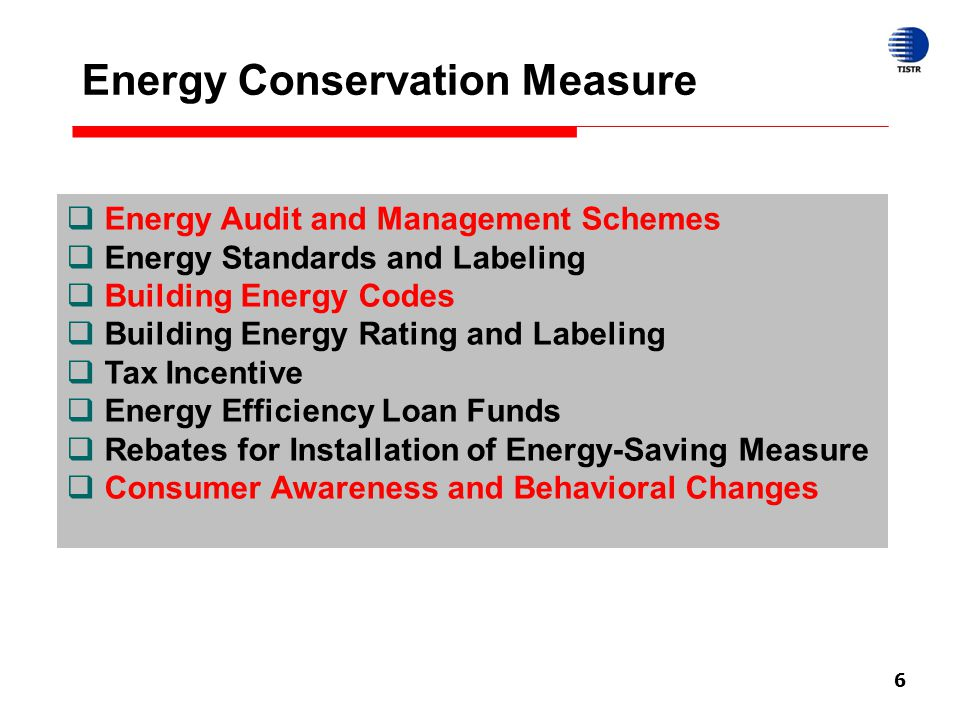 6 Energy Conservation Measure  Energy Audit and Management Schemes  Energy Standards and Labeling  Building Energy Codes  Building Energy Rating a
