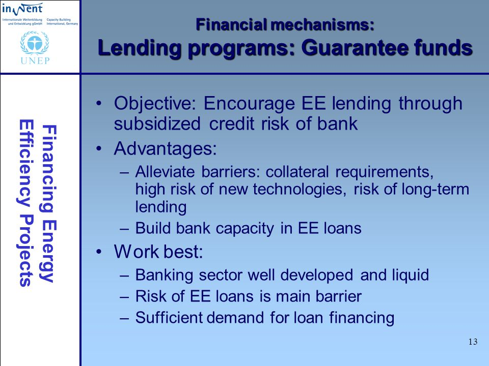 Financing Energy Efficiency Projects 13 Financial mechanisms: Lending programs: Guarantee funds Objective: Encourage EE lending through subsidized cre