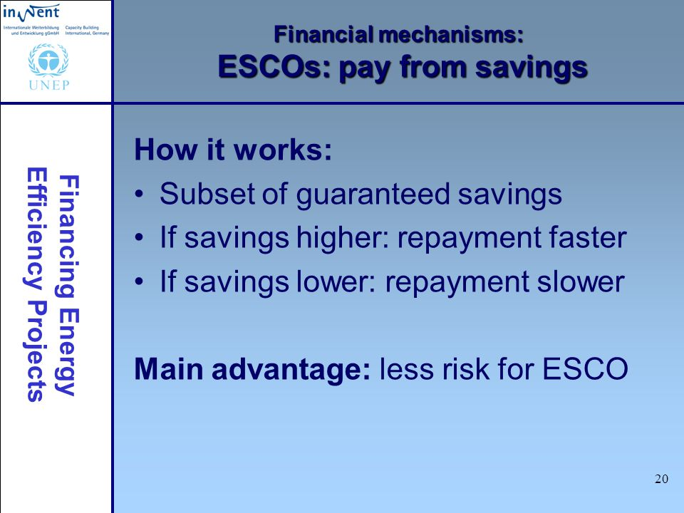 Financing Energy Efficiency Projects 20 Financial mechanisms: ESCOs: pay from savings How it works: Subset of guaranteed savings If savings higher: re