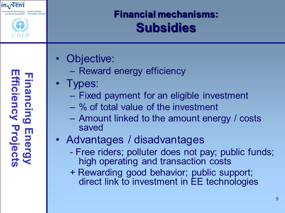 Financing Energy Efficiency Projects 20 Financial mechanisms: ESCOs: pay from savings How it works: Subset of guaranteed savings If savings higher: repayment faster If savings lower: repayment slower Main advantage: less risk for ESCO