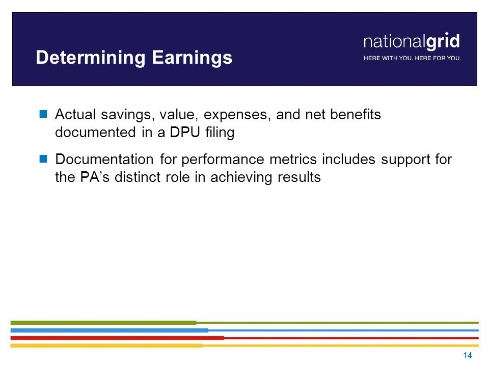 Determining Earnings  Actual savings, value, expenses, and net benefits documented in a DPU filing  Documentation for performance metrics includes support for the PA's distinct role in achieving results 14