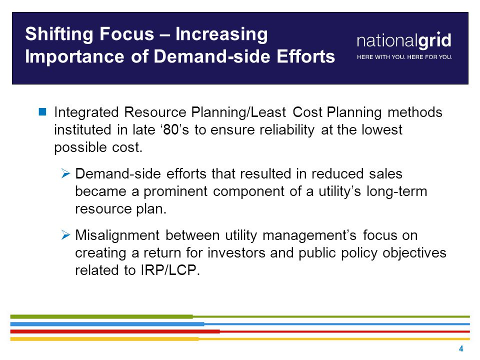 Shifting Focus – Increasing Importance of Demand-side Efforts  Integrated Resource Planning/Least Cost Planning methods instituted in late '80's to ensure reliability at the lowest possible cost.