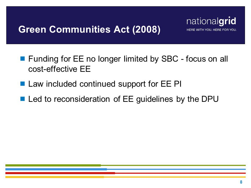 Green Communities Act (2008)  Funding for EE no longer limited by SBC - focus on all cost-effective EE  Law included continued support for EE PI  Led to reconsideration of EE guidelines by the DPU 8