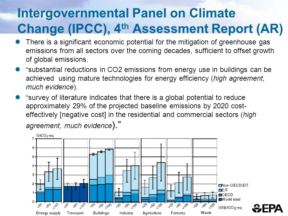 Intergovernmental Panel on Climate Change (IPCC), 4 th Assessment Report (AR) There is a significant economic potential for the mitigation of greenhouse gas emissions from all sectors over the coming decades, sufficient to offset growth of global emissions.