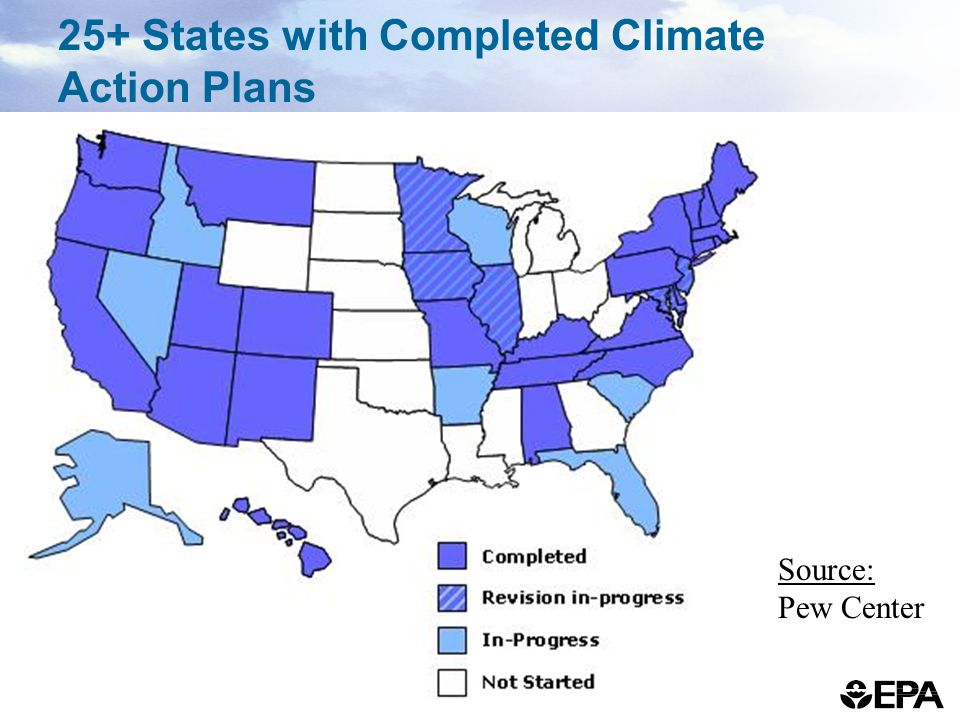 25+ States with Completed Climate Action Plans Source: Pew Center
