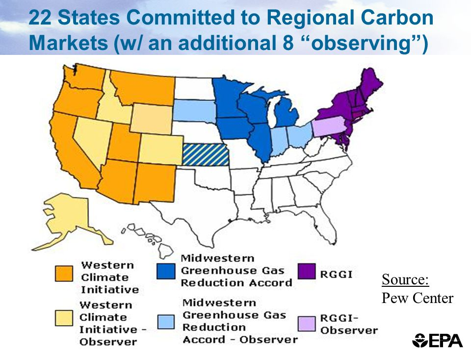 22 States Committed to Regional Carbon Markets (w/ an additional 8 observing ) Source: Pew Center