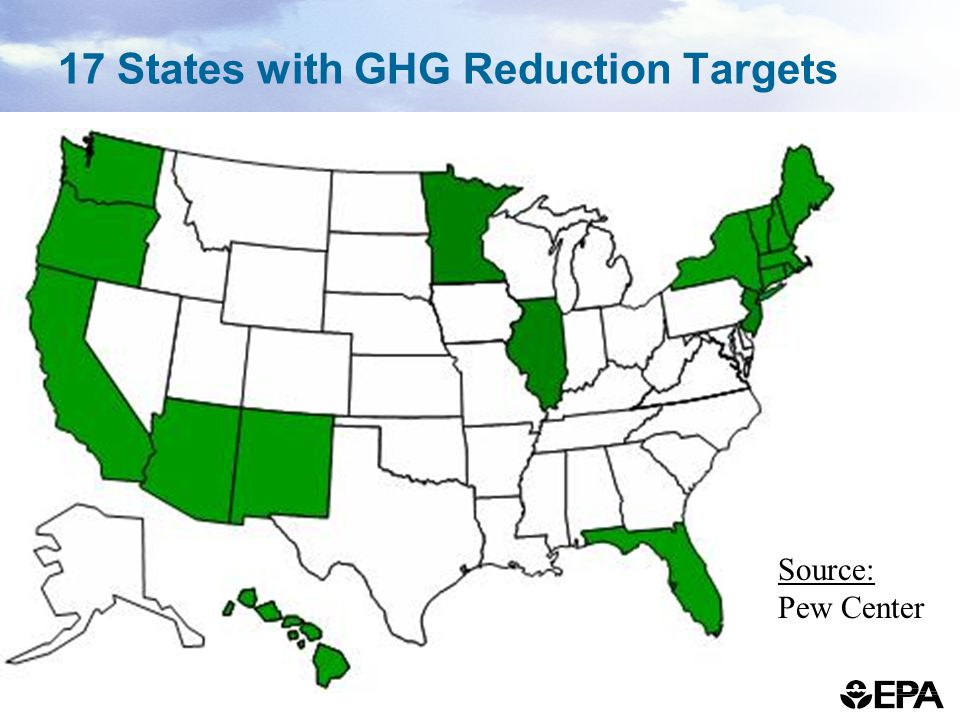 17 States with GHG Reduction Targets Source: Pew Center