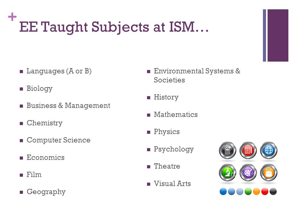 + EE Taught Subjects at ISM… Languages (A or B) Biology Business & Management Chemistry Computer Science Economics Film Geography Environmental System
