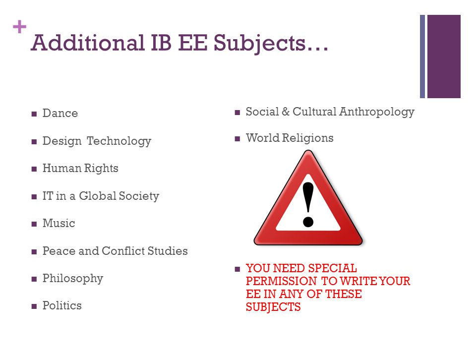 + Additional IB EE Subjects… Dance Design Technology Human Rights IT in a Global Society Music Peace and Conflict Studies Philosophy Politics Social & Cultural Anthropology World Religions YOU NEED SPECIAL PERMISSION TO WRITE YOUR EE IN ANY OF THESE SUBJECTS