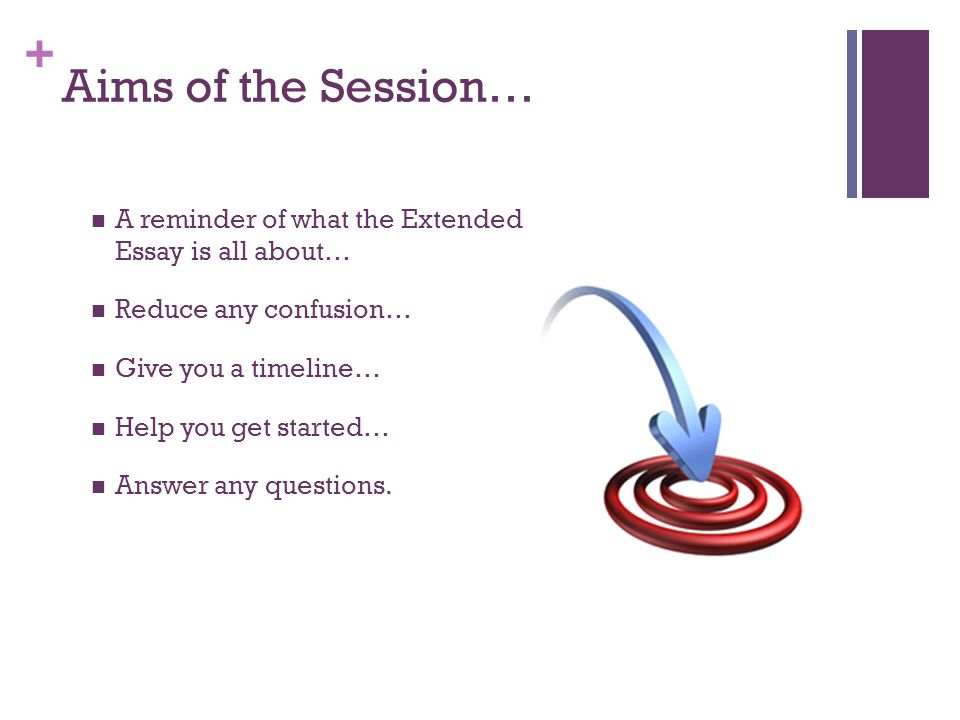 + Aims of the Session… A reminder of what the Extended Essay is all about… Reduce any confusion… Give you a timeline… Help you get started… Answer any questions.