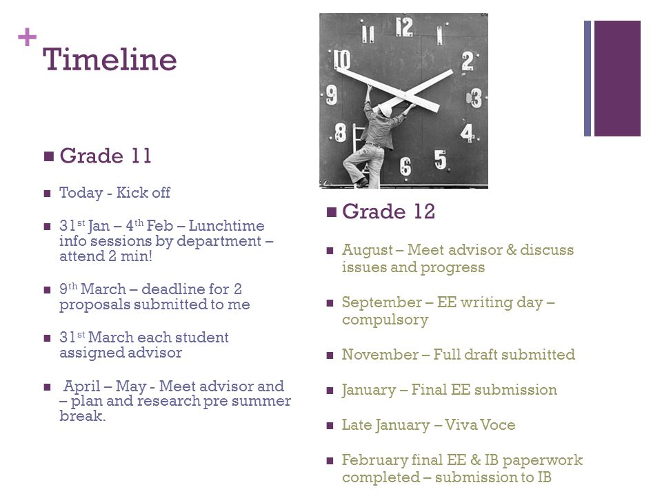 + Timeline Grade 11 Today - Kick off 31 st Jan – 4 th Feb – Lunchtime info sessions by department – attend 2 min! 9 th March – deadline for 2 proposal