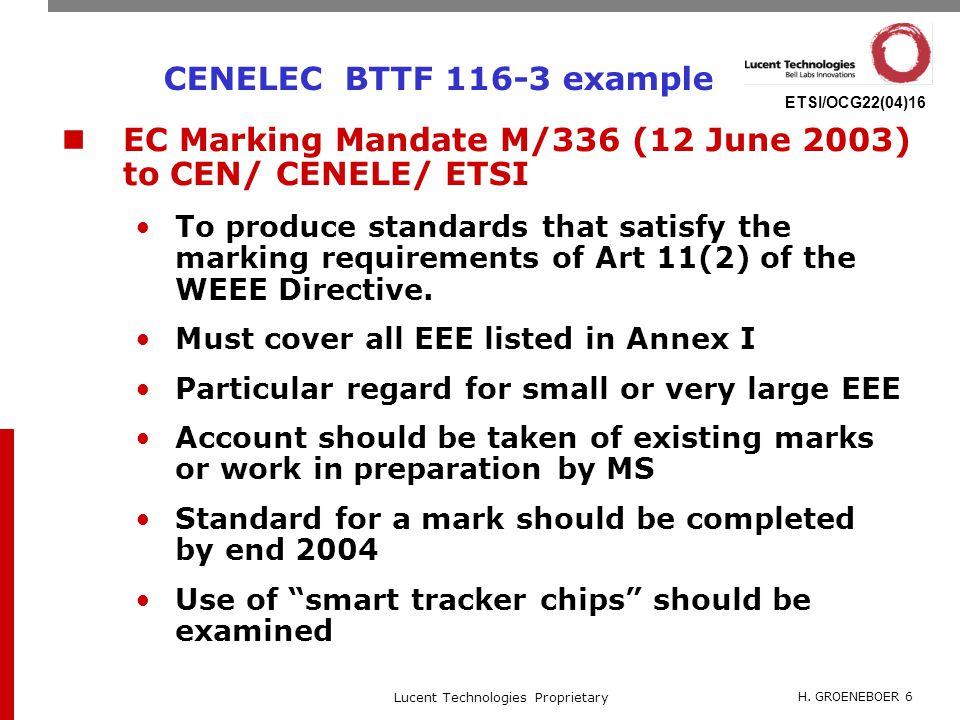 H. GROENEBOER 6 Lucent Technologies Proprietary ETSI/OCG22(04)16 CENELEC BTTF 116-3 example EC Marking Mandate M/336 (12 June 2003) to CEN/ CENELE/ ET