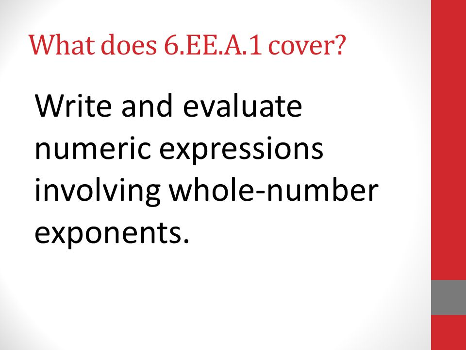 What does 6.EE.A.1 cover? Write and evaluate numeric expressions involving whole-number exponents.
