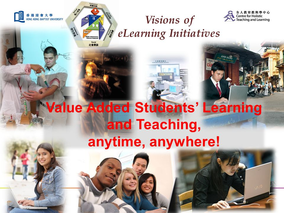 Visions of eLearning Initiatives Value Added Students' Learning and Teaching, anytime, anywhere!
