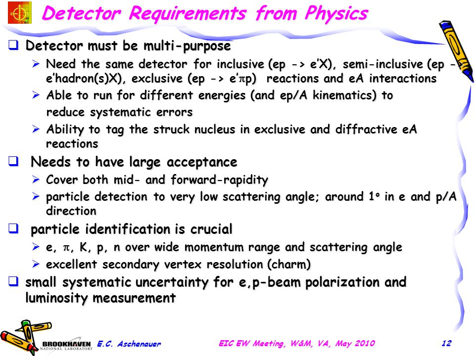 Detector Requirements from Physics  Detector must be multi-purpose  Need the same detector for inclusive (ep -> e'X), semi-inclusive (ep -> e'hadron