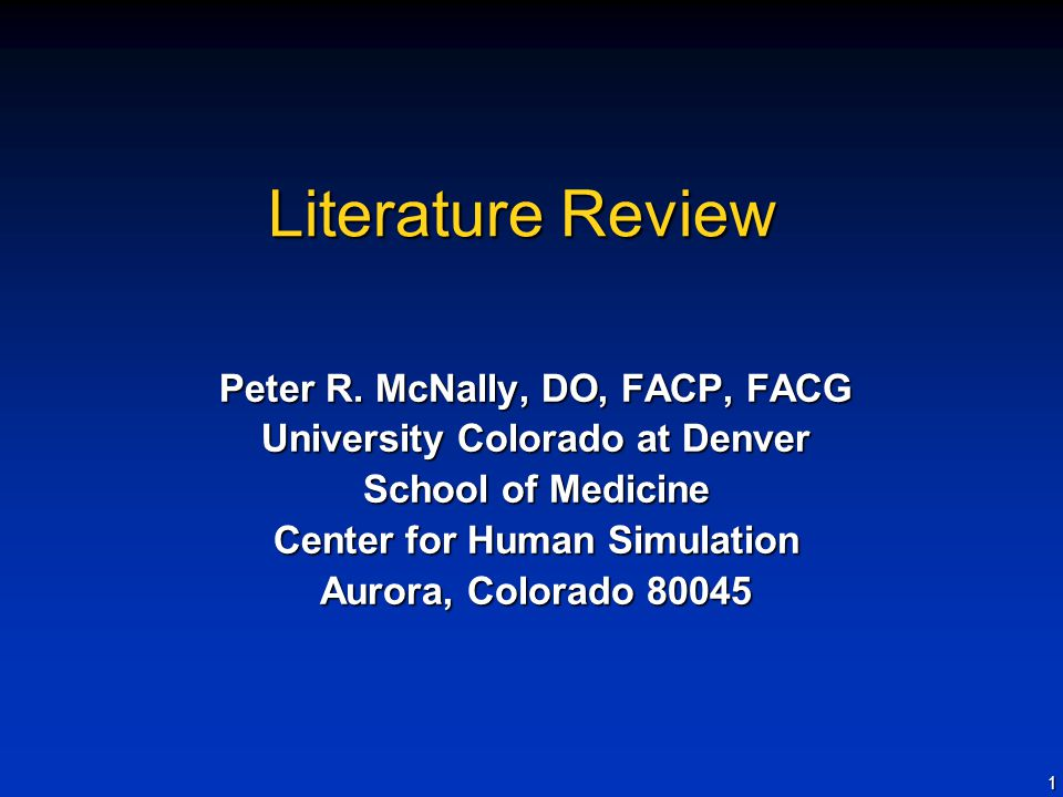 1 Literature Review Peter R.