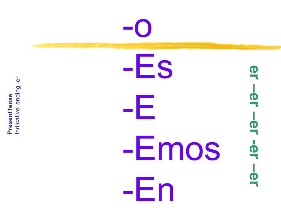 -o -Es -E -Emos -En PresentTense Indicative ending -er e r – e r – e r - e r – e r