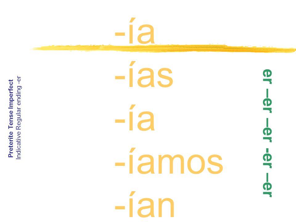 -ía -ías -ía -íamos -ían Preterite Tense Imperfect Indicative Regular ending -er e r – e r – e r - e r – e r