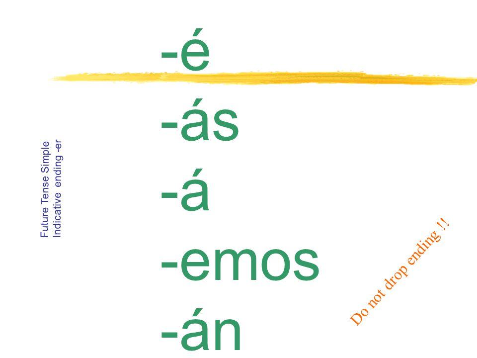 -é -ás -á -emos -án Future Tense Simple Indicative ending -er Do not drop ending !!