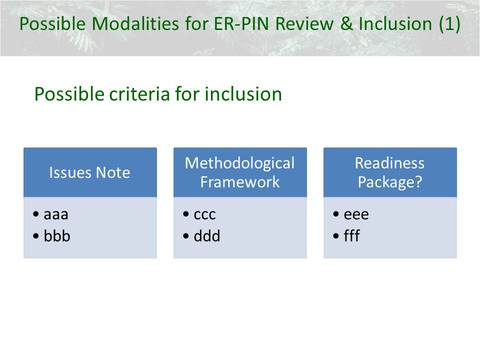 Issues Note aaa bbb Methodological Framework ccc ddd Readiness Package? eee fff Possible Modalities for ER-PIN Review & Inclusion (1) Possible criteri