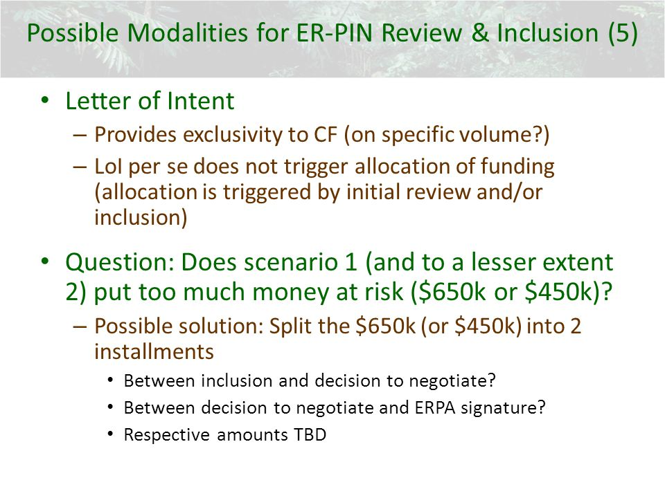 Possible Modalities for ER-PIN Review & Inclusion (5) Letter of Intent – Provides exclusivity to CF (on specific volume?) – LoI per se does not trigger allocation of funding (allocation is triggered by initial review and/or inclusion) Question: Does scenario 1 (and to a lesser extent 2) put too much money at risk ($650k or $450k).