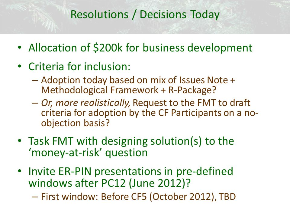 Resolutions / Decisions Today Allocation of $200k for business development Criteria for inclusion: – Adoption today based on mix of Issues Note + Meth