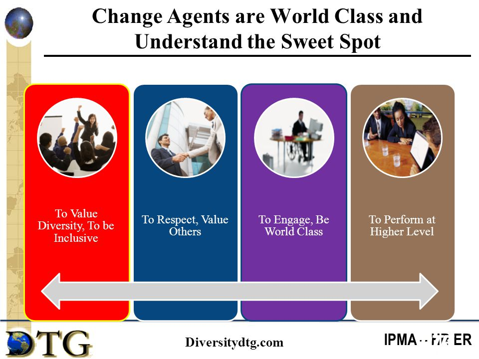 IPMA – HR ER Diversitydtg.com Change Agents are World Class and Understand the Sweet Spot To Value Diversity, To be Inclusive To Respect, Value Others