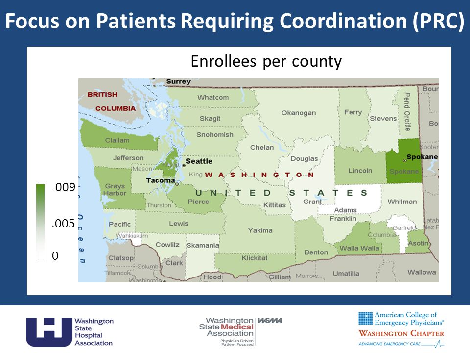 Focus on Patients Requiring Coordination (PRC). 009.005 0 Enrollees per county