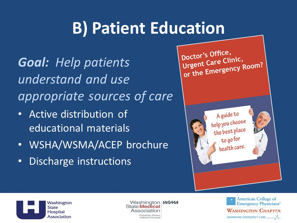 B) Patient Education Goal: Help patients understand and use appropriate sources of care Active distribution of educational materials WSHA/WSMA/ACEP brochure Discharge instructions 23