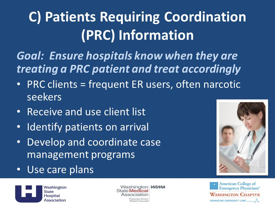 C) Patients Requiring Coordination (PRC) Information Goal: Ensure hospitals know when they are treating a PRC patient and treat accordingly PRC client